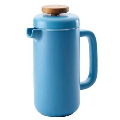 Ceramic Coffee and Tea 8-Demitasse-Cup Aqua Ceramic French Press