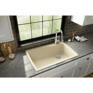 Drop-In Quartz Composite 34 in. 1-Hole Single Bowl Kitchen Sink in Bisque