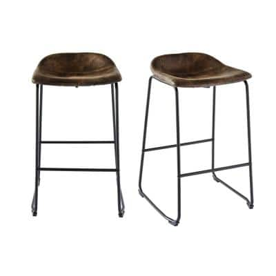 Galloway 29 in. Brown Bar Stool (Set of 2)