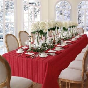 60 in. W x 84 in. L Oblong Red Denley Stripe Damask Fabric Tablecloth
