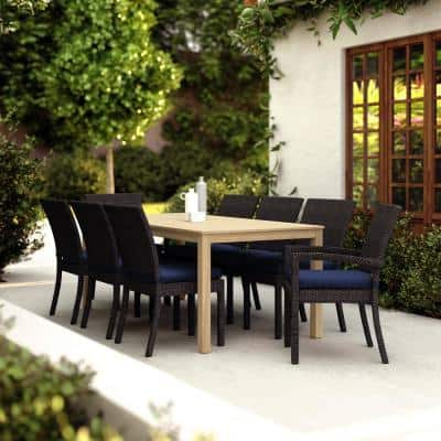 Deco/Kooper 9-Piece Wicker and Wood Outdoor Dining Set with Sunbrella Navy Blue Cushions