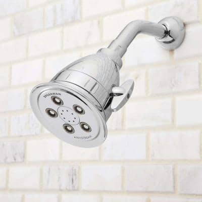 3-Spray 4.1 in. Single Wall Mount Low Flow Fixed Adjustable Shower Head in Polished Chrome