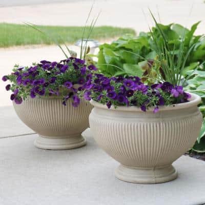 16 in. Beige Elizabeth Poly Flower Pot Planter (2-Pack)