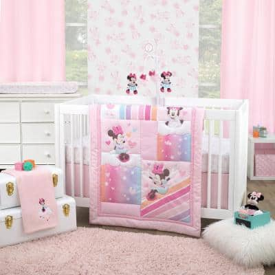 Minnie Mouse Be Happy 3-Piece Pink, Lavender, Aqua & Orange Crib Bedding Set (Comforter, Fitted Crib Sheet & Bed Skirt)