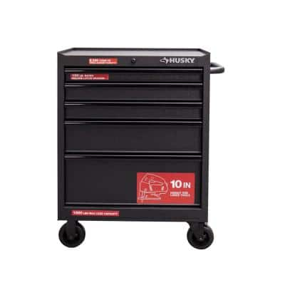 27 in. W 5-Drawer Rolling Cabinet Tool Box Chest in Textured Black