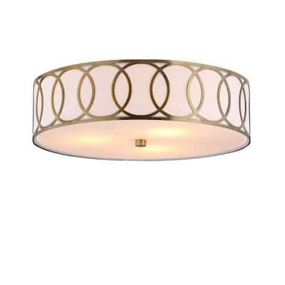 Aubrey 3-Light 15.5 in. Brass Gold Metal Flush Mount