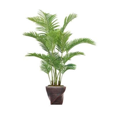 80.5 in. Real Touch Palm Tree in Fiberstone Planter