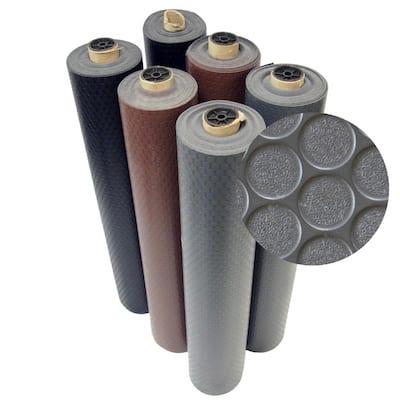 Coin Grip 4 ft. x 7 ft. Black Commercial Grade PVC Flooring