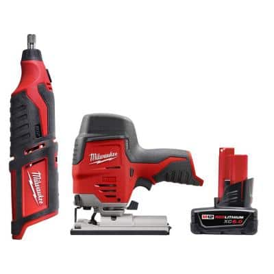 M12 12-Volt Lithium-Ion Cordless Rotary Tool with M12 Cordless Jig Saw and 6.0 Ah XC Battery Pack
