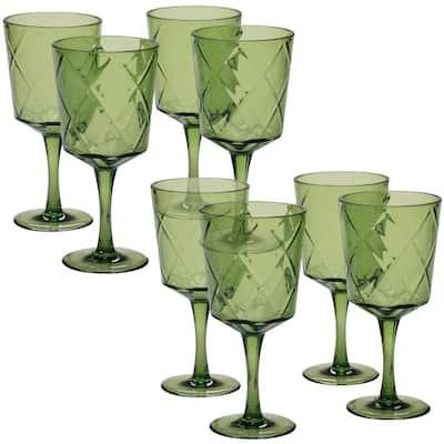 8-Piece 13 oz. Green Acrylic Goblet Glass