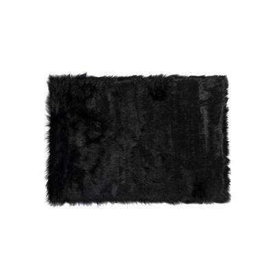 Hudson Black 2 ft. x 3 ft. Faux Sheepskin Indoor Rug