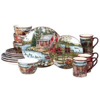 Lake Retreat 16-Piece Earthenware Dinnerware Set (Service Set for 4)