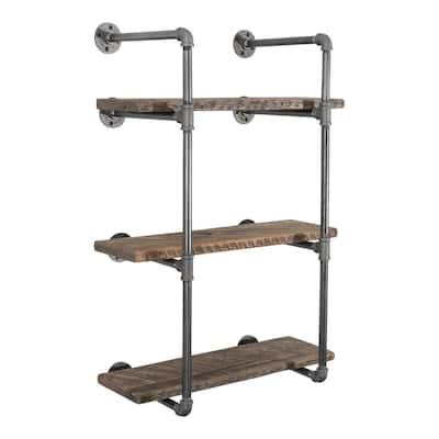 1/2 in. x 11.75 in. D x 35 in. H Black Steel Pipe Wall Mounted 3-Tier Shelf Kit