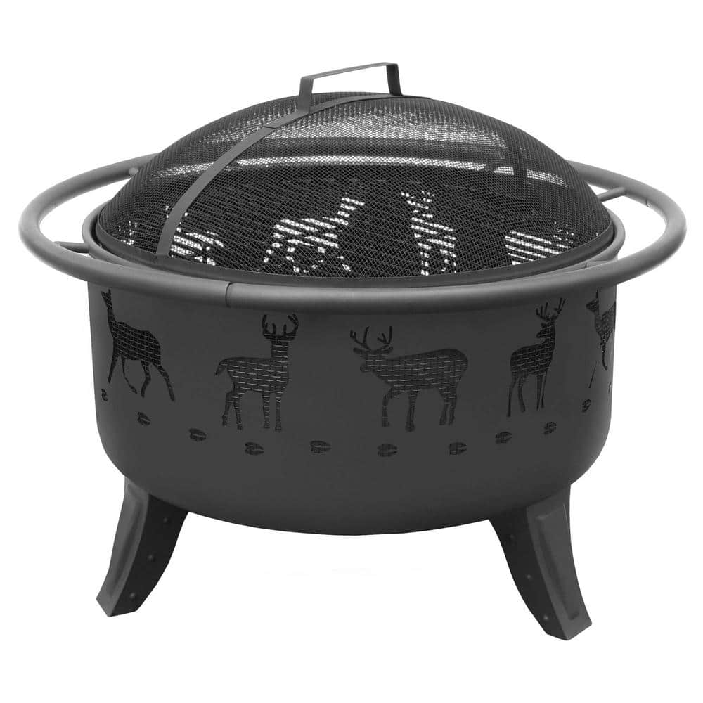 Landmann 29 5 In X 23 In X 29 5 In Round Steel Patio Lights Deer Tracks Wood Burning Fire Pit In Black 23192 The Home Depot