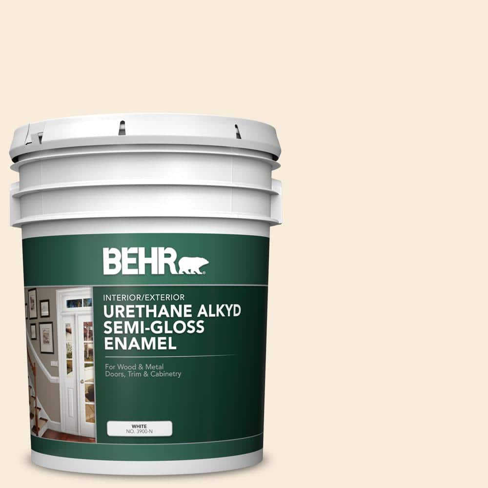 Behr 5 Gal Ae 190 Linen White Urethane Alkyd Semi Gloss Enamel Interior Exterior Paint 390005 The Home Depot