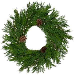32 in. Unlit Green Cypress with Pinecones and White Berries Artificial Christmas Wreath
