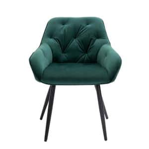 Modern Green Comfortable Side Chair with Nailhead Trim for Dining Room or Bedroom