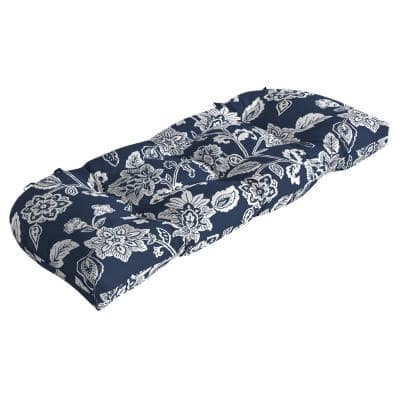 Rectangle Outdoor Wicker Settee Cushion in Sapphire Ashland Jacobean