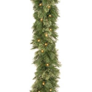 Wispy Willow 9 ft. Garland with Clear Lights