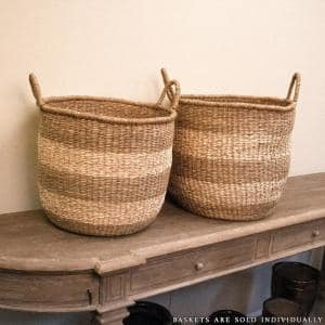Rounded Hand Woven Wicker Seagrass Striped Medium Basket with Handles