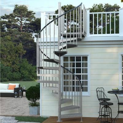Reroute Galvanized Exterior 60in Diameter, Fits Height 102in - 114in, 2 42in Tall Platform Rails Spiral Staircase Kit