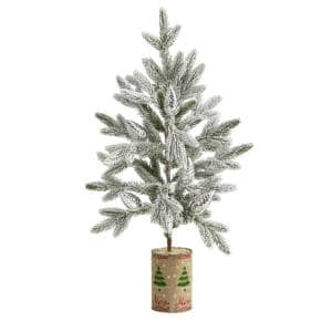 28 in. Flocked Christmas Artificial Tree in Decorative Planter