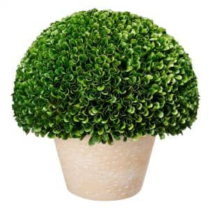 Faux Green Boxwood Topiary Ball