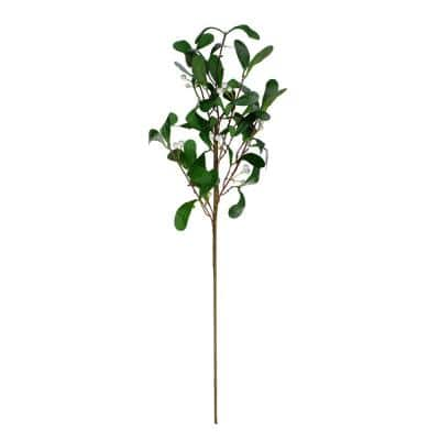 24 in. White and Green Snow Mistletoe Artificial Christmas Spray