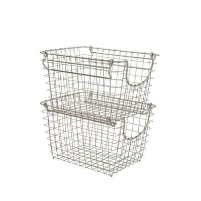 Scoop Small Satin Nickel Powder Coat Stacking Basket