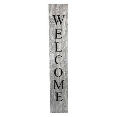 60 in. White Wash Rustic Farmhouse Vertical Front Porch Welcome Sign