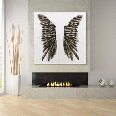 """48 in. x 24 in. """"The Wings"""" Primo Mixed Media Iron Wall Sculpture on Canvas Diptych (Set of 2)"""