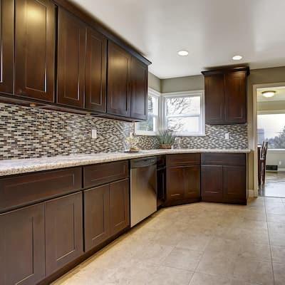 Brookings Plywood Assembled Shaker 24x30x12 in. 1-Door Corner Wall Kitchen Cabinet in Espresso