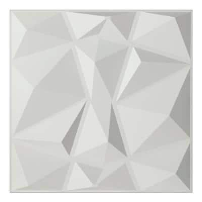 19.7 in. x 19.7 in. White Decorative PVC 3D Wall Panels in Diamond Design (12-Pack)