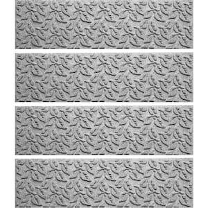Dogwood Leaf 8.5 in. x 30 in. Stair Treads (Set of 4) Medium Gray