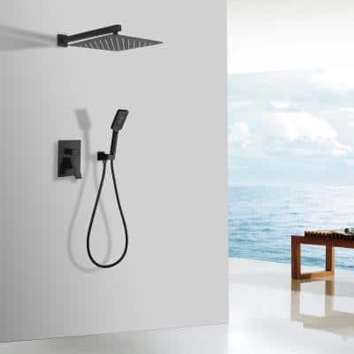 3-Spray with 2.5 GPM 12 in. 2 Functions Wall Mount Dual Shower Heads in Spot in Matte Black (Valve Included)