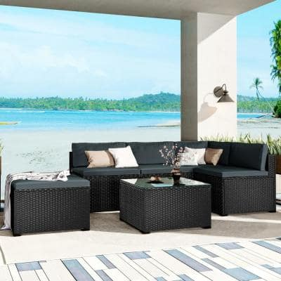 Soria 6-Piece Wicker Outdoor Sectional Sofa with Grey Cushions