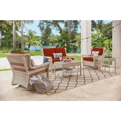 Park Meadows Off-White Wicker Outdoor Patio Swivel Rocking Lounge Chair with CushionGuard Quarry Red Cushions