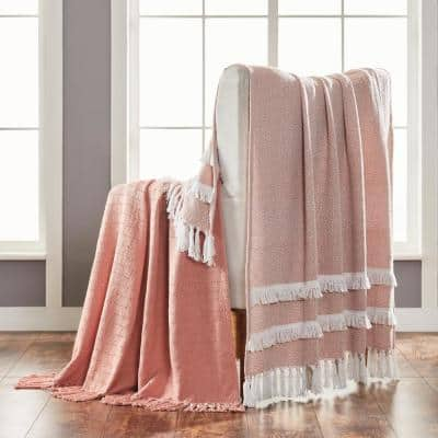 2-Pack Dion Coral Creme 100% Cotton 50 in. x 60 in. Throw Blanket