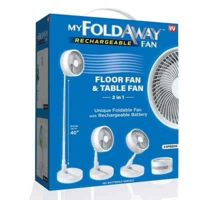 2-in-1 Adjustable Height 40 in. Unique Foldable and Portable My Foldaway Rechargeable Floor and Table Fan