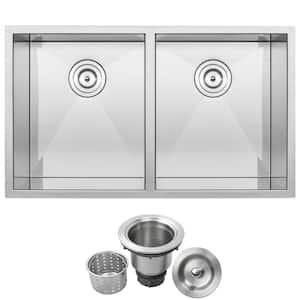 Pacific Zero Radius Undermount Series 16-Gauge Stainless Steel 32 in. Double Basin Kitchen Sink with Basket Strainer
