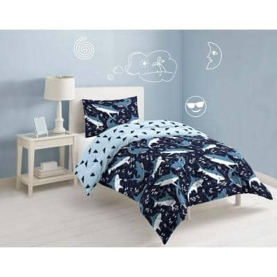 Navy Sharks Comforter Set