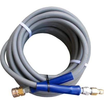 3/8 ft. x 50 ft. Gray Pressure Washer Replacement Hose, Non-Marking with Quick Disconnects