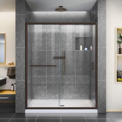 Infinity-Z 56 to 60 in. x 72 in. H Semi-Frameless Sliding Shower Door in Oil Rubbed Bronze