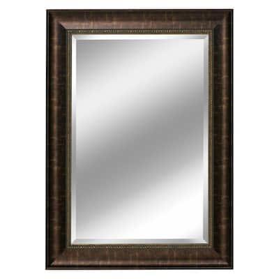 31 in. W x 37 in. H Framed Rectangular Beveled Edge Bathroom Vanity Mirror in Bronze