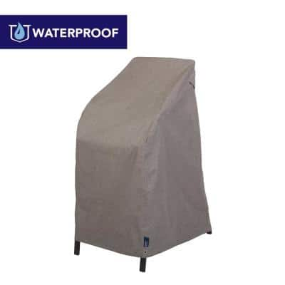 Garrison Waterproof Outdoor High Back or Stackable Patio Chair Cover, 27 in. W x 25 in. D x 49 in. H, Heather Gray
