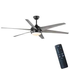 Windward 68 in. White Color Changing Integrated LED Indoor/Outdoor Matte Black Ceiling Fan with Light Kit and Remote