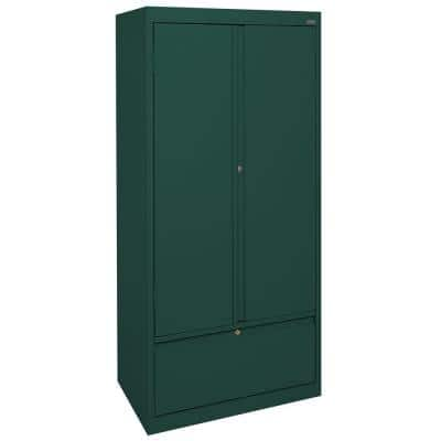 Systems Series 30 in. W x 64 in. H x 18 in. D Storage Cabinet with File Drawer in Forest Green