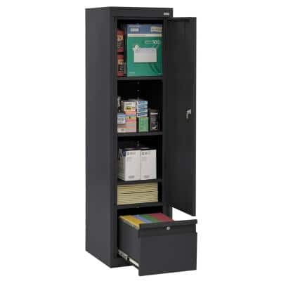 System Series 17 in. W x 64 in. H x 18 in. D Black Single Door Storage Cabinet with File Drawer