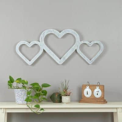 Triple Heart White Wood Wall Art