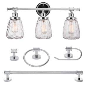 Lauzon 5-Piece Chrome All-In-One Bathroom Vanity Light Set